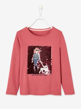 T-shirt with Sequinned Girly Motif, for Girls dark pink